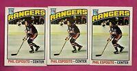 3 X 1976-77 TOPPS # 245 NY RANGERS PHIL ESPOSITO  CARD (INV# A1133)