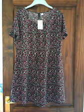 LADIES H&M SHORT SLEEVE FLORAL DRESS BLACK / PINK SIZE 14-NEW