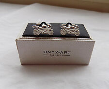 Beautiful ONYX-ART Motorbike Cufflinks in Original Box