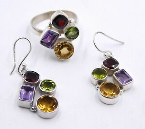 """13 Gm Natural Multy Ring & Earring Two Tone Set 925 Sterling Silver 1.50"""" M-440"""