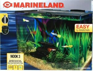 Marineland Nook 3 Curved Front Wide View 3 Gallon LED Easy To Maintain Aquarium