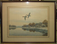 """John Sudy """"Over Winter Shore"""" Flying Ducks Sporting WC Listed Maryland Artist"""