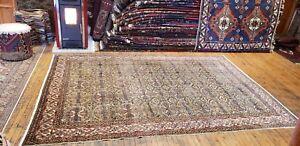 Beautiful Sage Green Antique Cross Patterned,Wool Pile  Armenian Rug 7x10ft