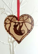 Sloth hanging wooden heart wall plaque ornament home decor interior