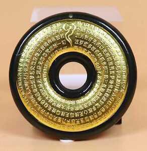 Cert'd green natural Hetian Jade 24K Yellow Gold Heart Sutra Pendant 24697a