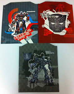 Transformers Folders -Lot of 3- Optimus Prime, Megatron, Decepticon - NEW - Mead