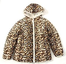 High-end Girl's Animal Print Brown & Ivory Reversible Faux Fur Jacket Size 10/12