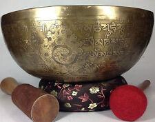 Buddhist Tibetan Vajra Carved Handmade meditation and Healing Singing Bowl