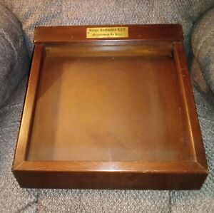 Vintage Glass Slant Top Lockable Wood Counter Jewelry Display Case