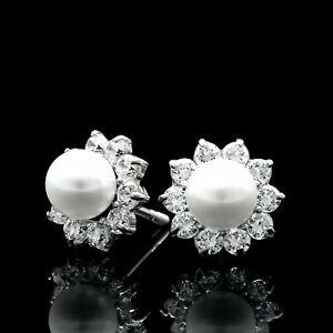 1.00CT Brilliant Diamond Pearl Earrings 14k White Gold Flower Studs Screw-Back
