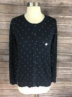 Basic Editions Womens Cardigan Sweater Sz Small Navy Blue White Polka Dot NEW