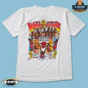Chicago Bulls Vintage 1993 NBA Basketball World Champs Shirt White Cotton Tee