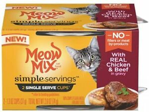 Meow Mix Simple Servings Real Chicken & Beef 4-2 Cup Packs Total 8-Single Serve
