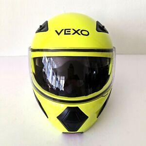 Vexo Neon Solid Yellow Motorcycle Helmet Size L