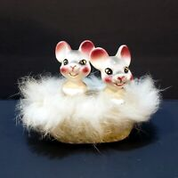 Vintage Baby Mice In A Basket - Wales Porcelain Japan
