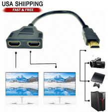 New 1X HDMI Male to 2X HDMI Female Y Splitter Switch Adapter Cable 1080P US