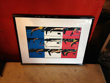 Contemporary Likely 1980's French Flag Print w/ Cars
