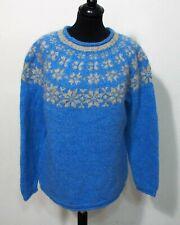 Island Norweger Strick Pullover Grösse M Damen Wolle Handarbeit D890