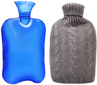 Hot Water Bottle 2Liter Thick Classic Transparent Rubber Hot Water Bag and Cover