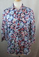 COLDWATER CREEK Womens Button Down Shirt Top, Size S, Floral, 3/4 Slvs, Cotton