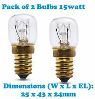 General Electric 2x 15 Watt SES E14 300C Cooker Oven Microwave lamp Bulb