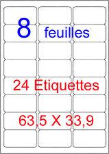 192 Etiquettes Autocollantes Blanches 63,5 X 33,9 mm Mon Timbre En Ligne