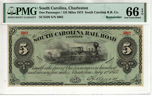1873 1 PASSENGER 125 MILE CHARLESTON SOUTH CAROLINA RAILROAD OBSOLETE PMG 66 EPQ