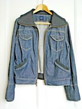 Bomber Flying Aviator Style Denim Jacket GAP Zip Front 38''- 40'' Chest Blue