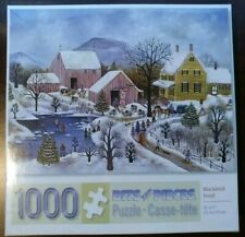 Bits and Pieces- 1000 Piece Puzzle - Blackbird Pond by Artist Janet Munro SEALED