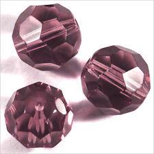 Lot de 10 perles à FACETTES 12mm en Cristal de Bohème Améthyste clair