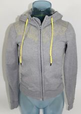 Lululemon Size 4 Gray Hoodie Sweatshirt Full Zip Yellow Floral Logo Print Accent