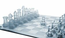 Elegant Glass Chess And Checker Board Game Set Table Vintage New Complete Box