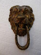 Antique Bronze Lion Head Drawer Pull/Door Knocker, 19th C.