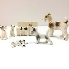 Lot of 6 Ceramic AIREDALE TERRIER Figurines Includes 2 Pfeffer Porzellan Gotha
