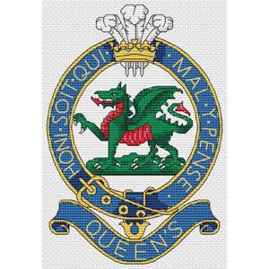 Queen's Regiment Badge Cross Stitch Design (kit or chart)