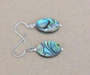 Paua Abalone Perlmutt  925 Silber 18 x 12mm  Ohrringe,( HP-64)