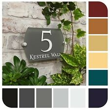 MODERN HOUSE NUMBER SIGN NAME ADDRESS PLAQUE DOOR PLATE SLATE GLASS EFFECT