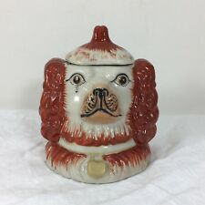 Rare Staffordshire Double Face Tabacco Jar Humidor 1800s King Charles Spaniel Mi