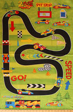 """23.5"""" X 44"""" Panel Race Day Race Track Cars Pit Stop Cotton Fabric Panel D766.33"""