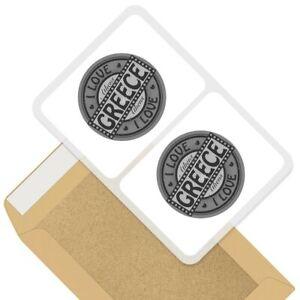 2 x Rectangle Stickers 7.5cm BW - I Love Greece Greek Travel Holiday  #40687