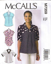Misses Pullover V Neck Dolman Sleeve Tops McCalls Sewing Pattern L XL XXL 16-26