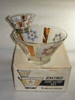 Vintage Anchor Hocking Encore Chip And Dip Bowl Set 22K. Gold Decoration USA