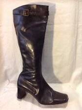 Dolcis Black Knee High Leather Boots Size 39