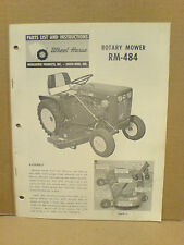 Wheel Horse Rm - 484 Rotary Mower Deck Operators With Parts List Original!