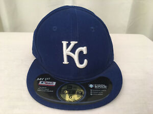 NEW ERA 5950 KC Royals Blue & White Fitted Embroidered Baseball Cap Size 6, NWOT