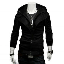 Men's Slim Fit Fleece Sweatshirt Hoody Hoodie Hooded Jacket Top Coat Black Large