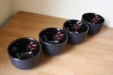 ASIAN SOUP RICE BOWLS 4 BLACK RED CHERRY BLOSSOM INSIDE STONEWARE 12 OUNCE