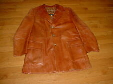Vintage Cortefiel Brown Leather Jacket/Coat Quilted-Detail Made-Spain Mens 44