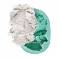 Moule en Silicone thème Noël Cloche Fleur pour Pâte Polymère Fimo Platre Savon