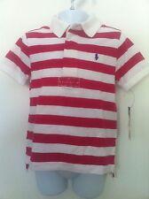 Ralph Lauren Polo Shirt White/Fuchsia Stripe SS White Collar Navy Logo Sz 3T NWT
